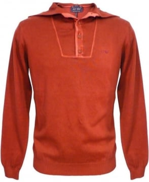 Armani Jeans Bordeaux V6W13 Knitwear Hooded Jumper