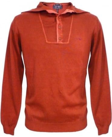 Armani Bordeaux V6W13 Knitwear Hooded Jumper