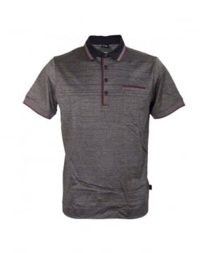 Hugo Boss Grey & Black Vintage Pattern Polo