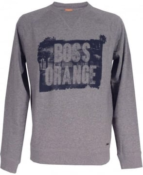 Hugo Boss Boss Orange Light Grey 'Wheel 1' Sweatshirt