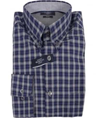 Hackett Brompton Blue-Grey Tonal Melange Check Shirt