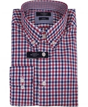 Hackett Brompton Navy/Wine Gingham Multi Shirt