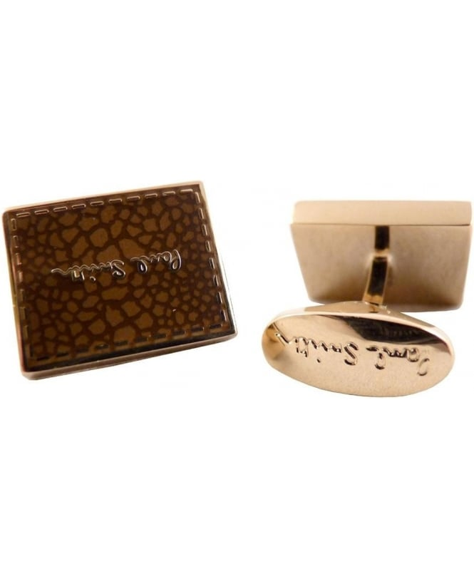 Paul Smith - Accessories Brown AMXA/CUFF/STITC Stitch Detail Cufflinks