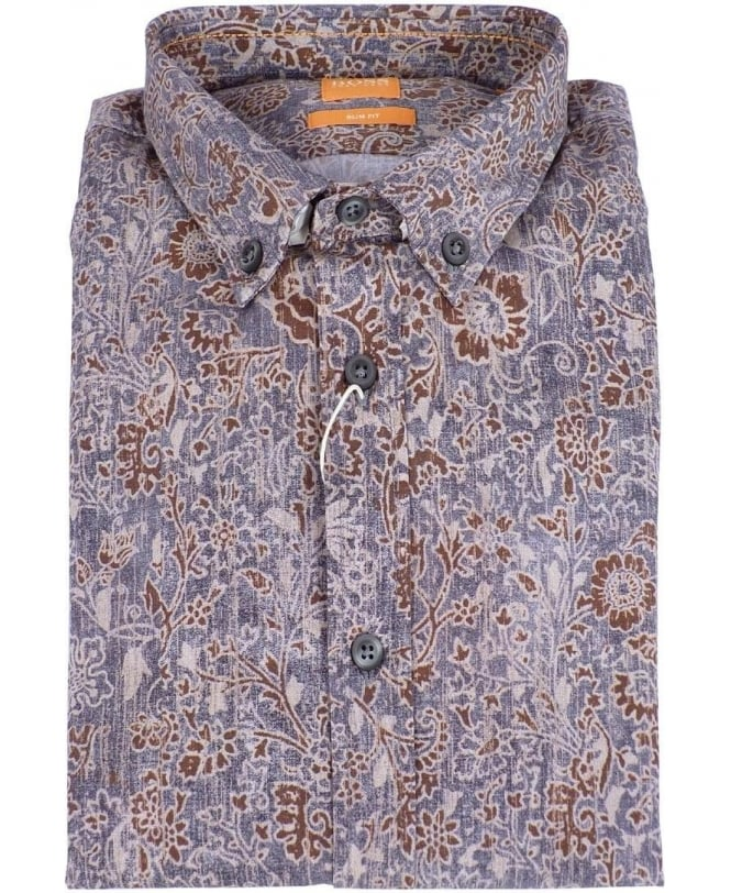 8e3fab67 Boss Brown & Blue Floral Patterned EpidoE Shirt - Shirts from ...