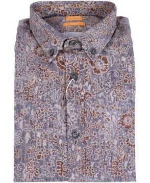 Hugo Boss Brown & Blue Floral Patterned EpidoE Shirt