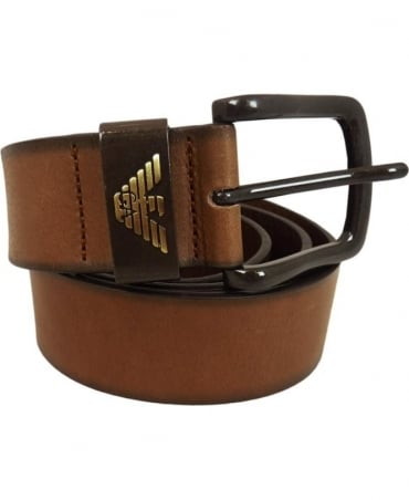 Armani Jeans Brown Bovine Leather Belt