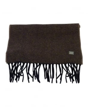 Hugo Boss Brown Cashmere Mix Scarf