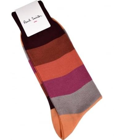 Paul Smith  Brown Colour Block Stripes ASXC/800E/K434 Socks