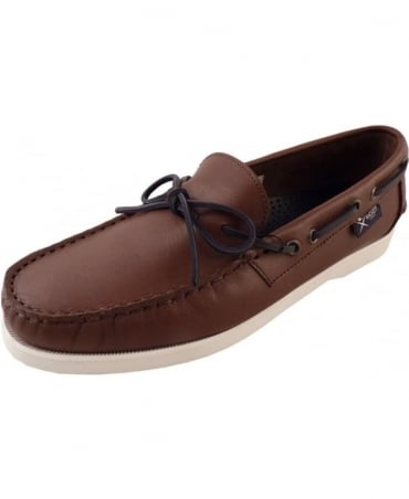 Hackett Brown Contrasting Lace Deckshoe Bow