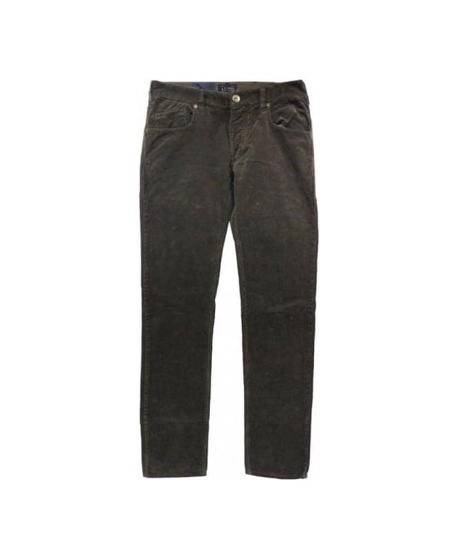 Armani Jeans Brown Corduroy Slim Fit J23 Jeans