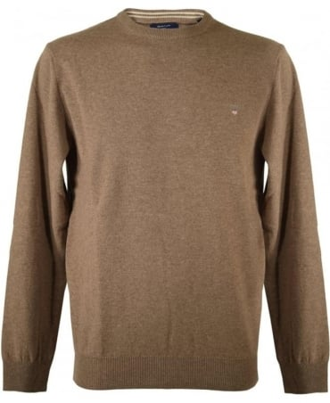 Brown Crew Neck Knitwear Jumper