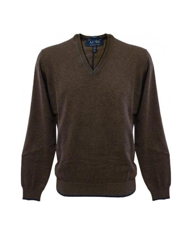 Armani Jeans Brown Elbow Patch Knitwear U6W84