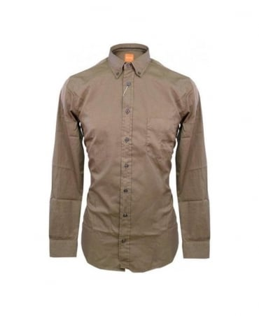 Hugo Boss Brown Equatore Chest Pocket Button Down Shirt