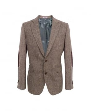 Gant Brown Essential Pinpoint Elbow Patch Blazer
