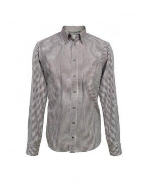Eton Shirts Brown Gingham Contrast Collar Slim Fit Shirt
