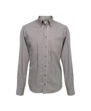 Eton Shirts Brown Gingham Contrast Collar Slim Fit Shirt
