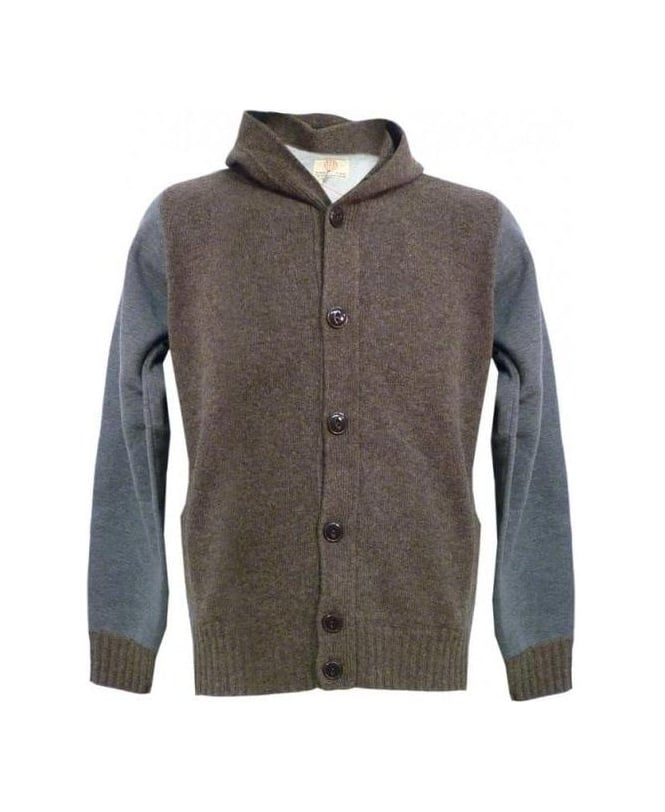 Replay Brown & Grey UK3452 Hooded Knit Cardi Jumper