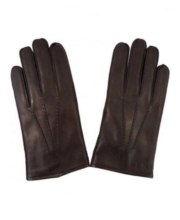 Hugo Boss Brown Haindt Leather Gloves 50237108