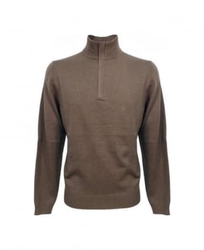 Hugo Boss Brown Half Zip Elbow Patch Mart Knitwear