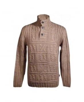 Hugo Boss Brown Herbert Cable Style Knit Jumper