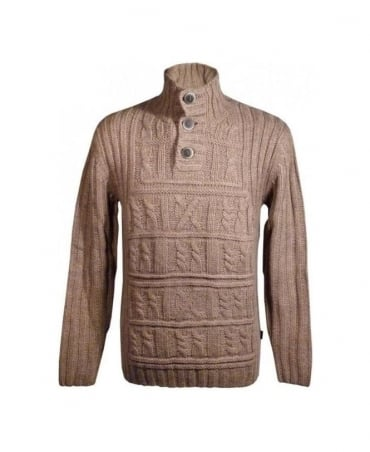 Brown Herbert Cable Style Knit Jumper