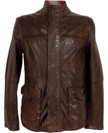 Hugo Boss Brown Jerian 50297050 Sheep Skin Leather Jacket