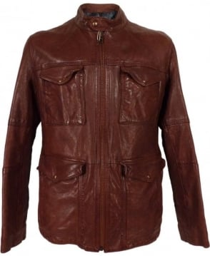 Hugo Boss Brown Joctor 1 50271210 Leather Jacket
