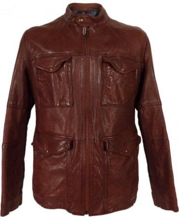 Hugo Boss Brown Joctor 1 50271210 Leather Jacket