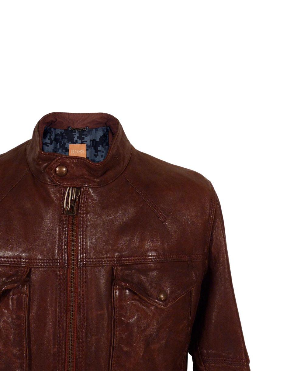 hugo boss brown joctor 1 50271210 leather jacket hugo. Black Bedroom Furniture Sets. Home Design Ideas