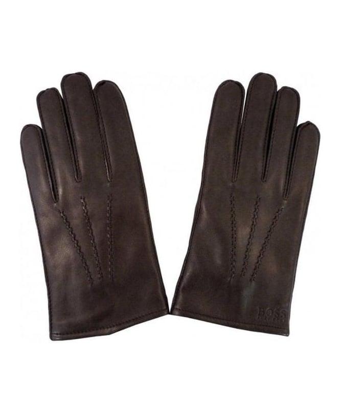 Hugo Boss Brown Kranto Leather Gloves 50237108