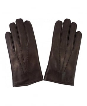 Hugo Boss Brown Kranto Leather Gloves 50237108