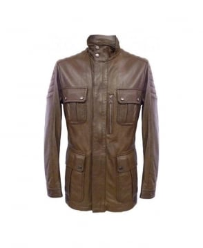 Hugo Boss Brown Lamb Leather Nimo Coat