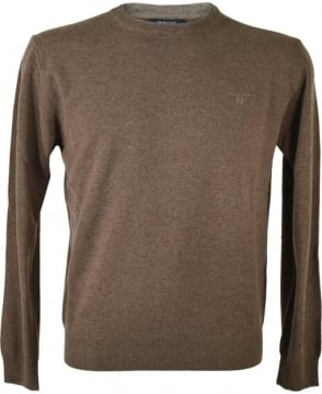 Gant Brown Lambswool Cashmere Crew Neck Jumper