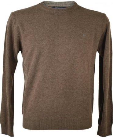 Brown Lambswool Cashmere Crew Neck Jumper