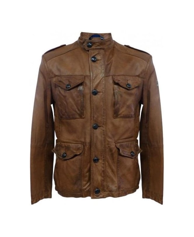 Hugo Boss Brown Leather Joaco Jacket
