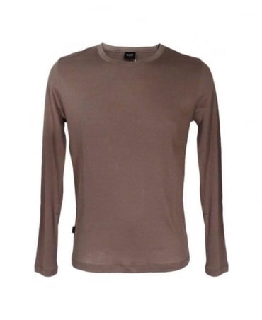 Hugo Boss Brown Long Sleeved Ribbed T-Shirt