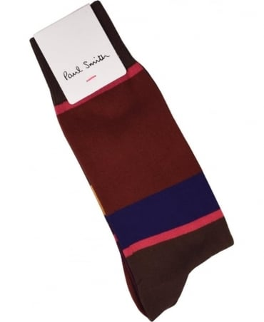 Paul Smith  Brown 'Odd Stripe' Socks