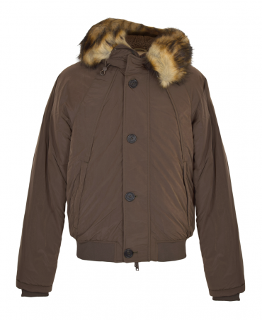 Armani Jeans Brown Padded Faux Fur Jacket