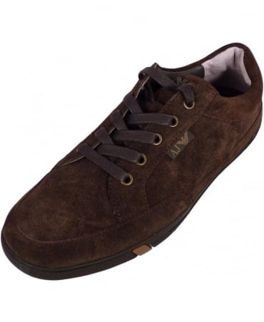Armani Brown Suede Lace Up Trainers
