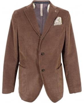 Manuel Ritz Brown Two Button Cord Jacket