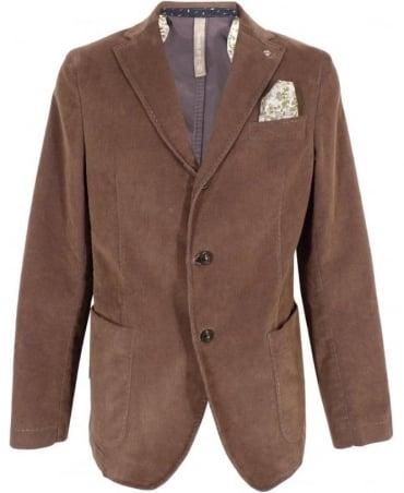 Manuel Ritz Brown Two Button Cord Jacket