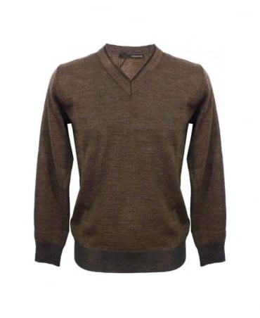 Hamaki-Ho Brown V-Neck Wool Mix Jumper MI844H
