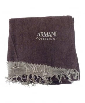 Armani Collezioni Brown Virgin Wool Mix Scarf