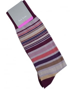 Paul Smith  Burgundy APXA-380A-K152 Page Stripe Socks