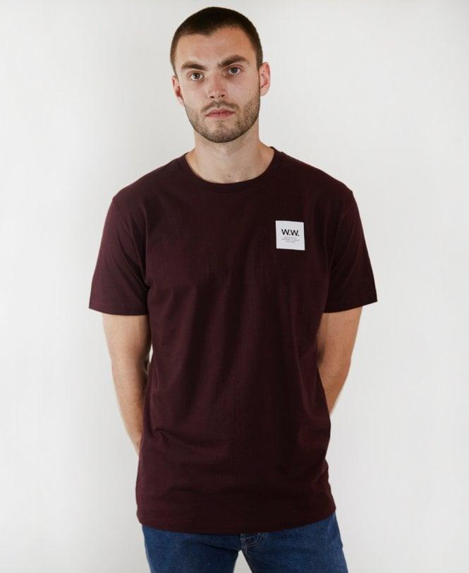 ca3ba3f5d9a Wood Wood Wood Wood Burgundy Box Crew Neck T-shirt