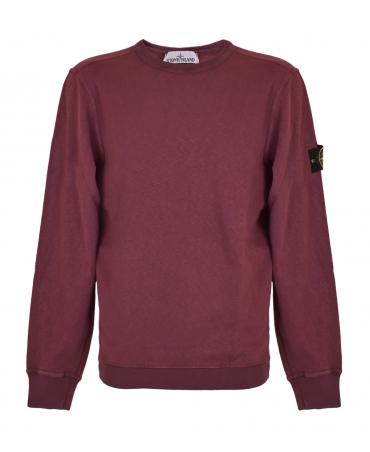 Stone Island Burgundy Crew Neck Sweatshirt
