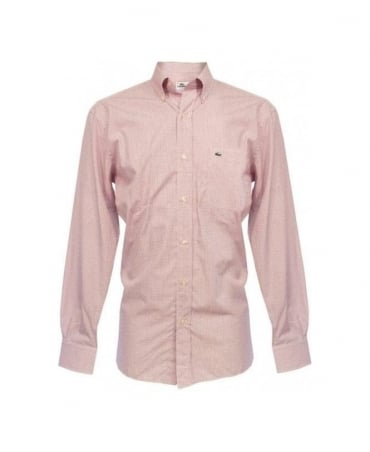 Lacoste Burgundy Fine Gingham Shirt