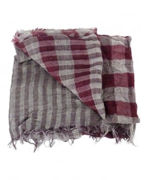 Hugo Boss Burgundy & Grey Check Nordian Scarf