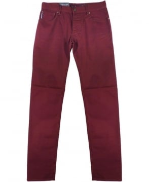 Armani Burgundy J28 Slim Fit Jeans