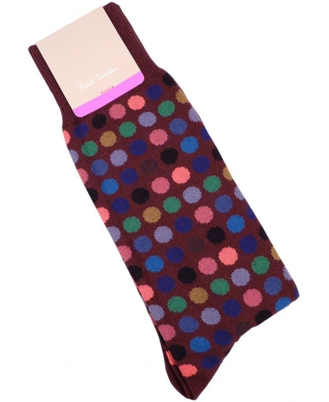 Paul Smith - Accessories Burgundy Multi Polka Dot ANXA-380A-F990 Sock